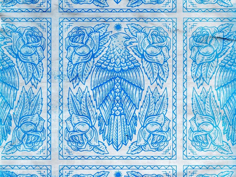 Eagle Crest rose bad utility eagle drawing tarot badge stamp texture graphic design vintage woodcut illustration travis pietsch design