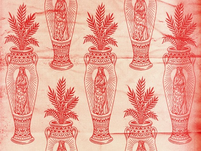 Vase ornate decorative red bad utility palm leaves occult tarot badge drawing stamp texture graphic design vintage woodcut illustration travis pietsch design