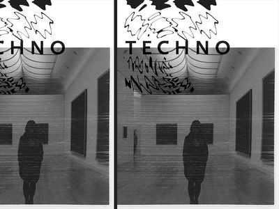 Techno editorial magazine book cover distort black and white bw glitch abstract type zine