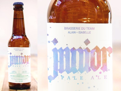 Junior Pale Ale Label hand lettering lettering small batch baby shower homebrew watercolor blackletter label packaging beer home brew calligraphy