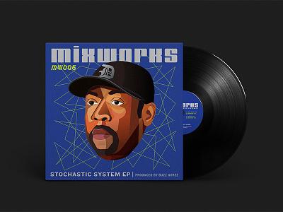 Stochastic System Ep Cover blue gradient shading vector techno detroit vinyl artwork vinyl mix floating head illustration