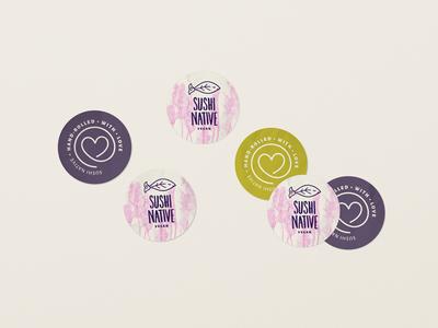 SushiNative Stickers [vegan] identity food stand restaurant vegan branding logo illustration sushi sticker