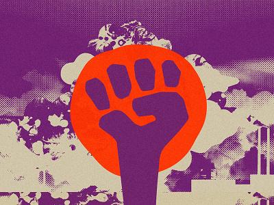 Artwork for Climate Justice design halftone bitmap activism climate change poster vector illustration