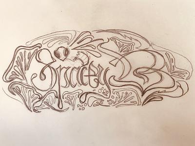 Spacey B Banner Art Sketch identity design victorian type lettering logo branding logotype process illustration sketch identity
