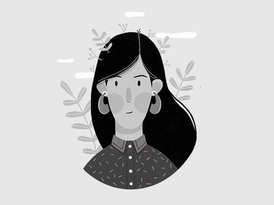 Self Portrait hili noy digital illustration logo leaf woman portrait character design character black and white self portrait illustration