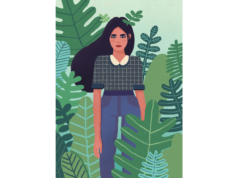 Mom mother plants nature woman portrait leaf illustration character design character hili noy