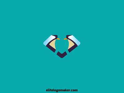 Penguin + Diamond Logo logo maker logotipo logo for sale logo design simple abstract bird animal diamond penguin