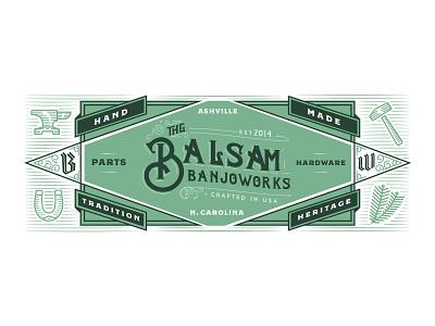 Balsam Banjoworks Website Header sears 1920s oldtimey oldschool banner anvil hammer balsam icons green frail clawhammer america usa north carolina pisgahbanjos pisgah banjo