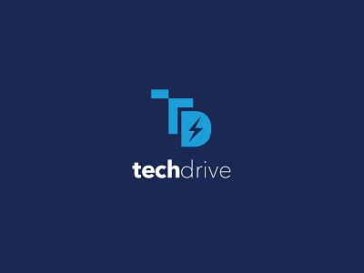Tech Drive Logo technology logo technology logomark t lightning bolt lowercase techdrive blue tech logo drive tech