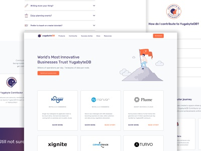 YugabyteDB website (Success Stories) hero image illustration startup customers clients testimonials cloud database sketchapp landing page web design website user experience ui ux user interface