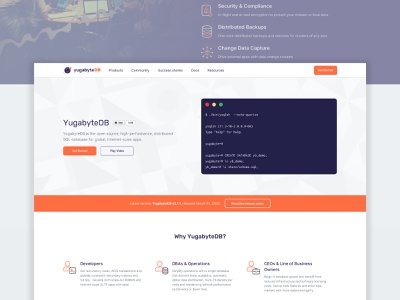 YugabyteDB website (Open Source) terminal product design product open source startup branding cloud landing page database web design website user experience ui ux user interface