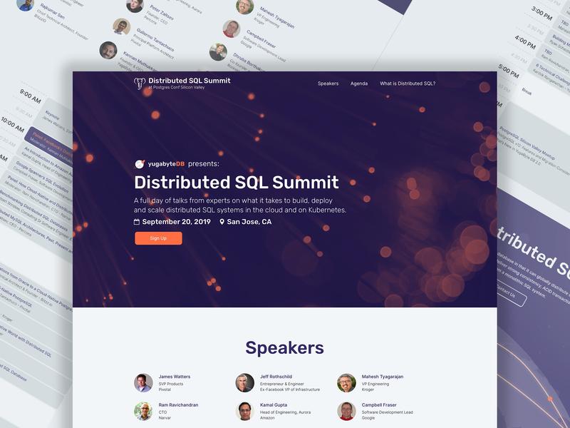 Distributed SQL Summit v2 - Desktop visual identity branding startup branding website landing page product design user interface user experience design ux design summit conference database