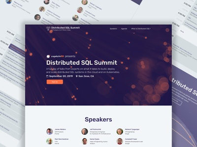 Distributed SQL Summit v2 - Desktop visual identity branding startup branding website landing page product design user interface user experience design ux design summit conference database