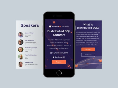 Distributed SQL Summit v2 - Mobile database conference summit ux design user experience design user interface product design landing page website startup branding branding visual identity