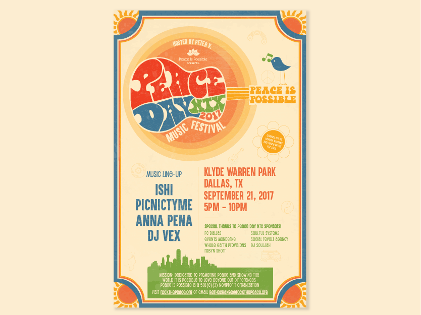 Peace Is Possible NTX Festival Poster by Vania Malkiewicz on Dribbble