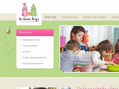 Daycare concept kids children daycare pink green website