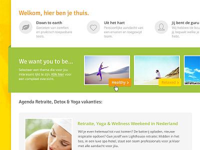 Yoga website concept yoga wellness clean flat