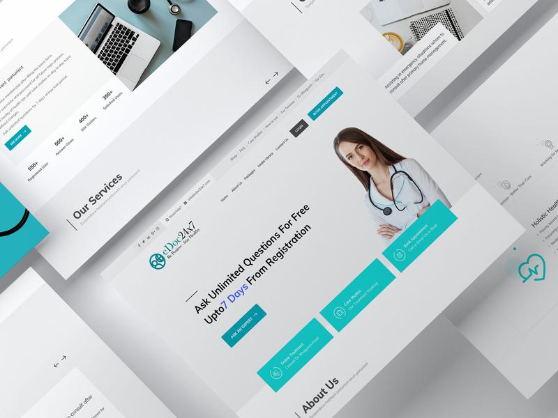 eDoc 24×7 - Meet a doctor online 24x7 24×7 pharmacy pharma portal ui digital health redesign website homepage healthcare medical doctor online doctor landing page