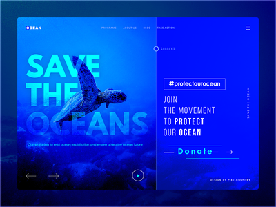 Save The Oceans - Website UI bluewebsite websiteheader organizationwebsite websiteinterface userinterface uiux websiteui oceanwebsite