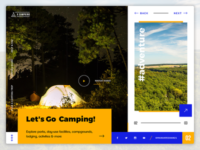 Camping Website Header - UI Exploration websiteui websiteinterface websiteheader userinterface uiux ui outdoor modern clean campingwebsite adventure