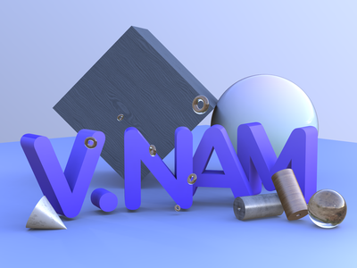 3D text light vectary render text material object shape illustration gallery branding 3d