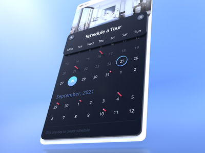 3D Calendar pick book booking schedule day date mobile interface illustration ui perspective calendar 3d