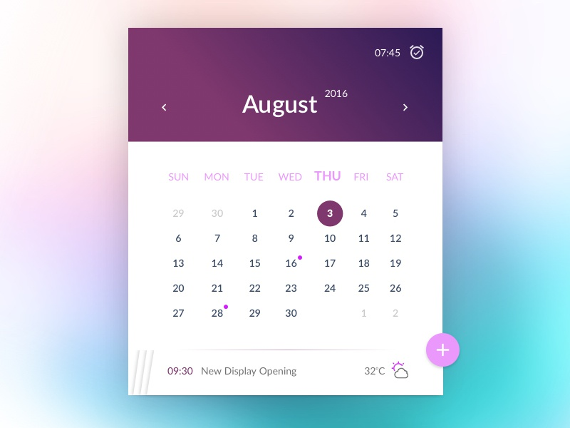 Calendar app weather forecast month time interface event appointment date calendar