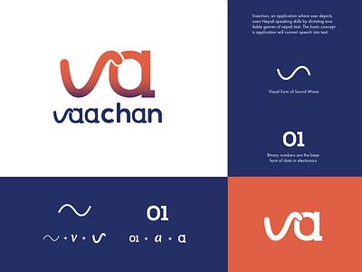 Vaachan Logo Design logotype ui vector illustraion tech logo blue concept design logo