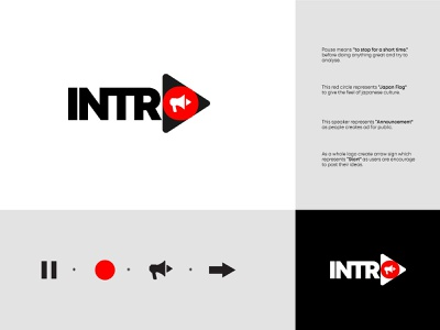 Intro Logo Design red black logodesign illustration concept branding design logo