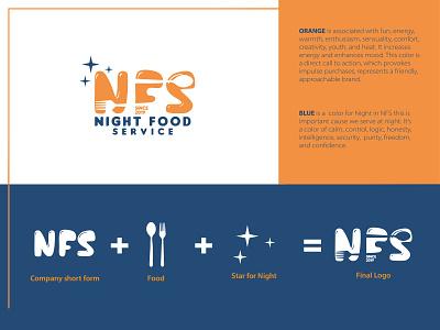 NFS Logo Design vector design stars night food branding illustration logo concept