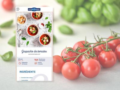 Version mobile d'une page recette mobile mobile ui recipe food web design responsive website responsive creation website ui ux webdesign branding web design