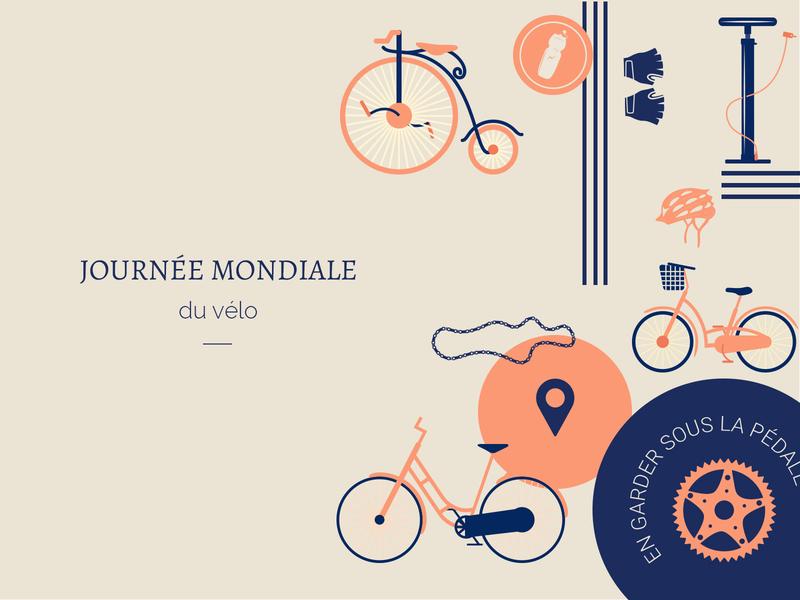 La journée mondiale du vélo bikes journée mondiale creation ui design branding conception graphique concept velo bike