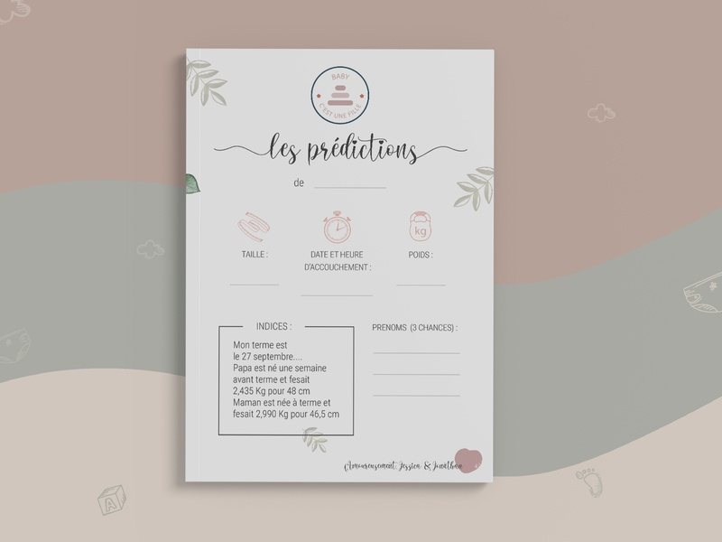 Carte de pronostiques bébé party flyer jeu creation branding design paper papeterie flyer girl baby shower genderparty baby party