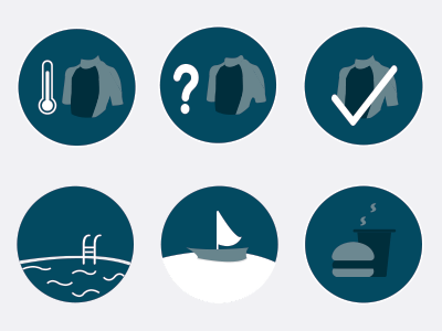 H2open Icons  pool boat food wetsuit swimming swim design icons