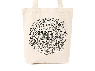 Totes Mcgoats ipad pro cactus coffee pizza doodles doodle hand sketch lifeway girls tote bag