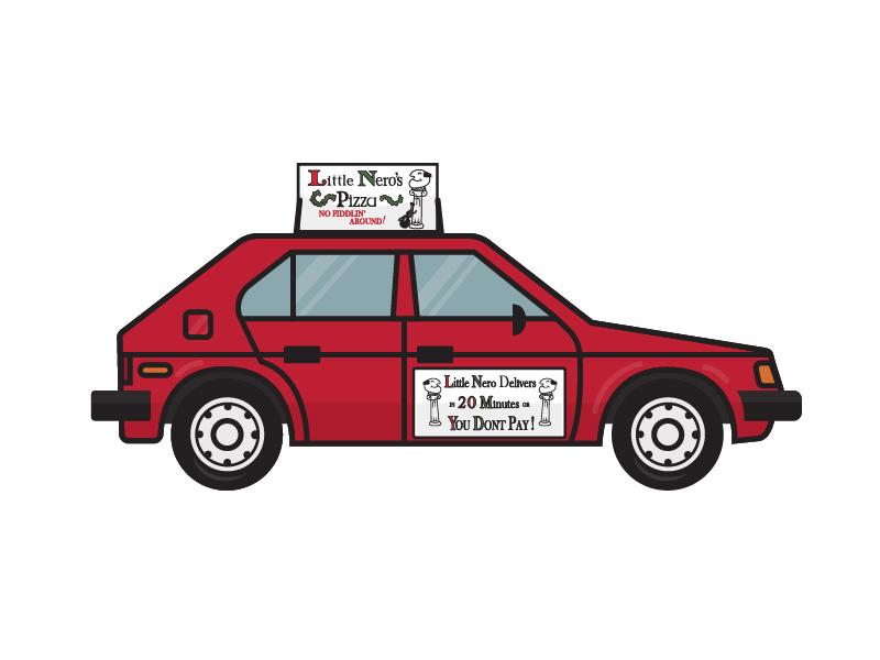 Little Nero's Pizza Car Lapel Pin dodge omni pizza car little neros pizza home alone lapel pin
