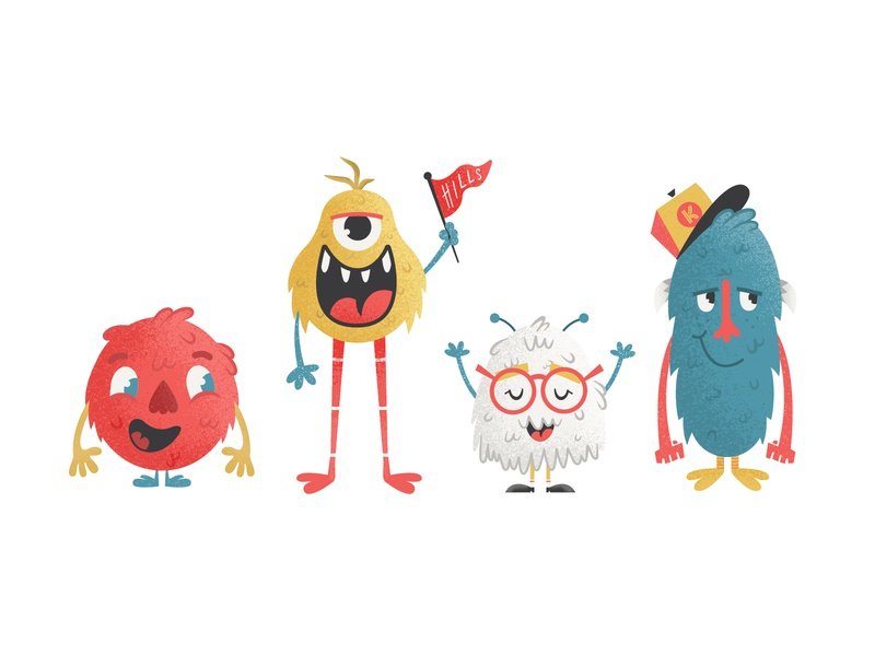 Monsterz retro supply textures fuzzy puppets sesame street kid lit art kid lit monsters