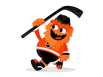 Lil Gritty hockey stick hockey nhl mascot philadelphia flyers philadelphia flyers nhl gritty