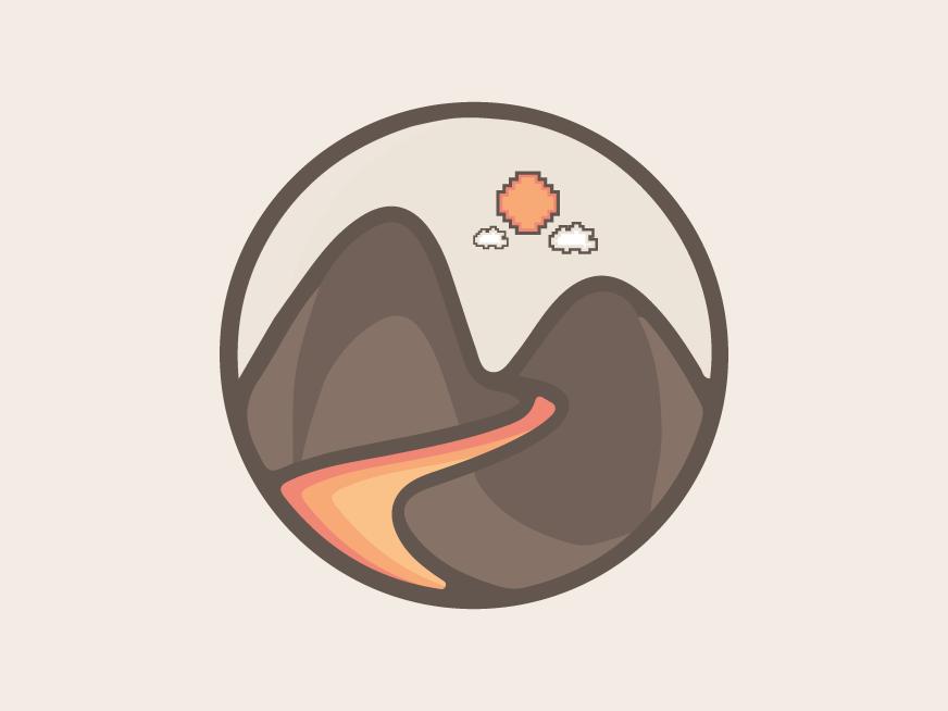 Lava landscape design logo sky fire nature yellow orange red volcano mountain lava