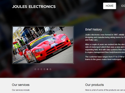 Simple website cars electronics mwwd web design dodge viper joules electronics matt willett screenshot