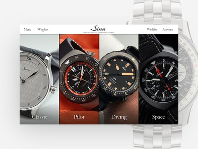 Daily UI #3 Landing Page adobe fireworks timepiece space classic diving pilot chronograph watches design dailyui sinn