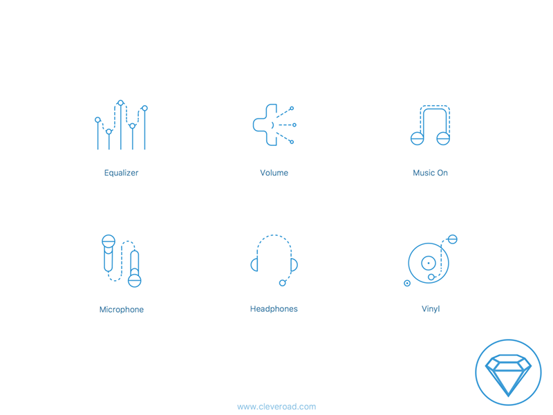 Audio Icons Set (Sketch) sketch share logo music audio set ux ui icon