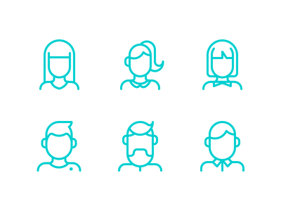 Characters Icons beard woman man boy girl stroke outline icon user character