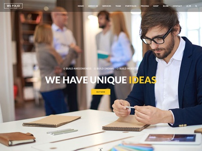 Ws Folio - Creative Website Template retina responsive bootstrap minimal yellow css3 html5