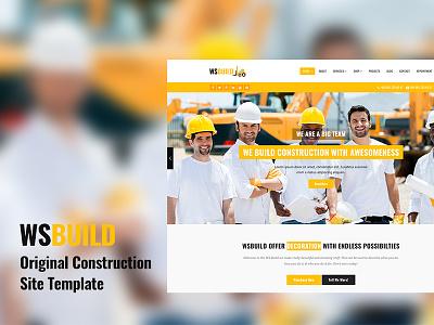 WS Build a Construction Responsive Site Template construction building business bootstrap template website
