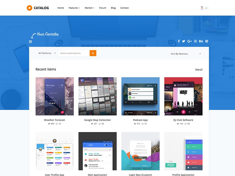 catalog marketplace site template by show wp dribbble
