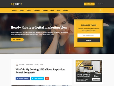 oPPost - Digital Marketing Blog Template (Coming soon) yellow marketer market blog marketing business bootstrap template website