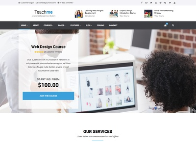 Teachme - Learning Management System Site Template themeforest school template theme cms learning university education templates themes wordpress