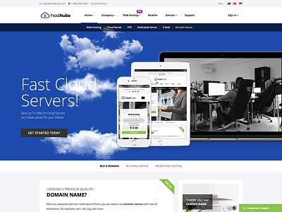 HostHubs Responsive Web Hosting Website Template web hosting technology responsive reseller html5 hosting template hosting domain search domain company cloud bootstrap