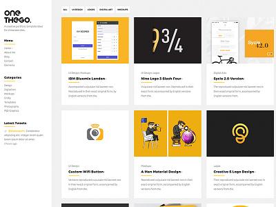 OneTheGo Creative Portfolio Website Template yellow responsive portfolio photography infinite html5 digital download css creative bootstrap art agency